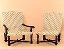 Upholstered Flat Cross-Stretcher Chairs