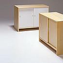 CABINET 217 Designer: Alvar Aalto 1933-35 Birch, natural lacquered Divider, 2 shelves Sliding doors white lacquered, birch or ash veneer Option: lock