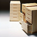 PEDESTAL L297 Designer: Alvar Aalto 1929-30 Birch, natural lacquered 3 shallow drawers, 1 stationery drawer, serial lock Plinth or Kevi casters