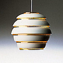 PENDANT LAMP A331 Designer: Alvar Aalto 1953-54 White painted aluminium Polished brass rings 75W, E27 Cord 200 cm