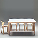 TABLE 82A 150x85 Designer: Alvar Aalto 1933-35 Birch, natural lacquered Legs: L- or H-legs Top 150x85 cm, 5 cm thick Top material: Birch veneer, linoleum, laminate, ash veneer Standard heights 72, 60...