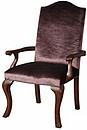 Delightful hand carved occasional chair avaialble in a coice of rich velvets