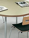 Frame in tubular steel, finished in polyester; colours according to sample collection. Removable legs in tubular steel , chromed or finished in polyester; colours according to sample collection....