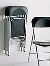 Frame in tubular steel, finished in polyester. seat and back in recyclable polypropylene with a non-slip ribbed finish; colours accor-ding to sample collection. Folding model.
