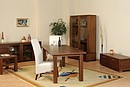 Dinning room in modern style manufactured in walnut vennered beech or oak timber and oak venner in wenge or natural color. Nitrocelullose laqueer finishing.