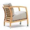 Simplicity and comfort characterise the Malena armchair. The frame is made of solid beech, with completely removable seat and back covers. Malena has aluminium legs with castors at the front. The...