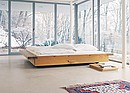 Designer: Philippe Allaeys, 2001 The bed frame is 60 mm (2 3/8 inch) thick and made of four parts, whereby the two boards at the ends are firmly connected in place. The solid wood bed rests on...