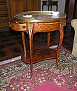 Louis XV style small table in bois de rose, maple, rosewood, pear, coloured woods for the marquetry. Drawers: dovetail. Polishing with shellac and beeswax.