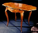 Louis xv style coffee table in walnut and root of olive ash. Drawer: dovetail. Polishing with shellac and beeswax.