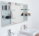 Mirror with anodized aluminium frame. The fluorescent lighting is a component part of the mirror, the crystal shelves are welded to the mirror.