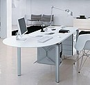 Writing desk with perisola equipped with chest of drawers and PC holder. White lacquered top part.