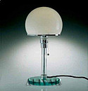 The classics of modern furniture designed by the great masters of Bauhaus school Marcel Breuer :Table lamp with glass base. Glass Column. Shade in blown opal glass. Recommended wattage 60 max.