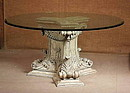 Contemporaneous style table (inspired of classical period), solid wood for the three feet finely decorated with carvings inspired Louis XIV period, glass top.