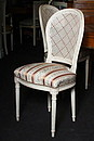 Louis XVI style, horseshoe back, hand caning, seat of traditional upholstery, solid beech wood frame, finished in stained n°13.