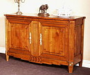 """Louis XVI style sideboard, solid cherry wood with two doors. Each moulding is directly made in the solid wood with corners call """"à la grecque"""" on faces and sides. Face feet are salient with..."""