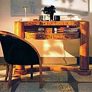 Writing desk in ash-burl and cherry wood.