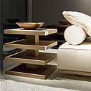 Small table/nightstand with four shelves, in Ipe Tabaco.