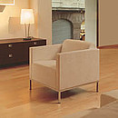 Solid structures featuring beechwood or steel arms and legs. Available in armchair or small sofa versions, it's ideal for its easy mobility and adaptability to today's diverse spaces. Wood arms.